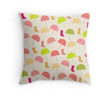 Umbrellas and Boots Throw Pillow