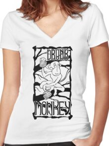 Drunk Monkey Women's Fitted V-Neck T-Shirt