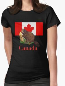 Canadian Flag and Beaver Womens Fitted T-Shirt