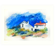 TWO WHITE HOUSES BY THE SEA Art Print