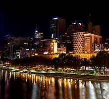 The Yarra River - Central Melbourne at Night by James  Key