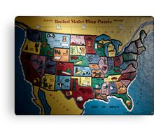 united states map puzzle Canvas Print
