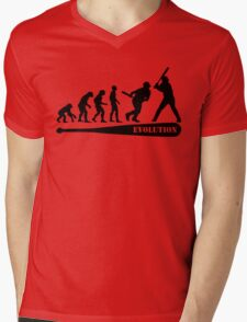 Baseball Evolution Mens V-Neck T-Shirt
