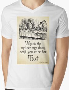 Alice in Wonderland Quote - Tea - Mad Hatter Quote - 0107 Mens V-Neck T-Shirt
