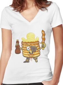 Pancake Pirate Women's Fitted V-Neck T-Shirt