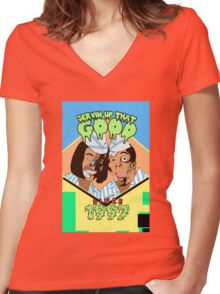Home of the Good Burger Women's Fitted V-Neck T-Shirt