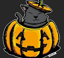 Cute Pumpkin Cat Halloween by zombieCraig