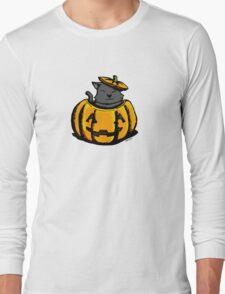 Cute Pumpkin Cat Halloween Long Sleeve T-Shirt