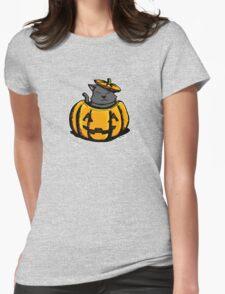 Cute Pumpkin Cat Halloween Womens Fitted T-Shirt