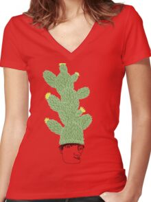 Cactus Hat Hipster Street Wear Women's Fitted V-Neck T-Shirt
