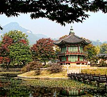 South Korea-temple with reflecting pond by Tom Davidson