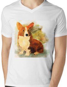 Corgi Mens V-Neck T-Shirt