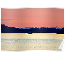 Tug boat and sunset over Olympic Mountains Poster