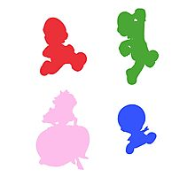 Super Mario 3D World - Coloured Silhouettes Photographic Print