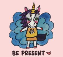 Be Present: Unicorn Drawing Watercolor Illustration Kids Clothes