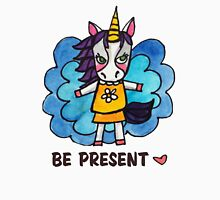 Be Present: Unicorn Drawing Watercolor Illustration Womens Fitted T-Shirt
