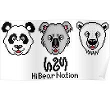 Hi Bear Nation 8-bit Heads Poster