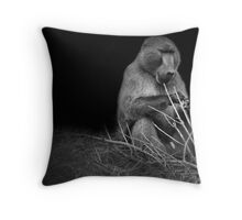 Black and White Baboon  Throw Pillow