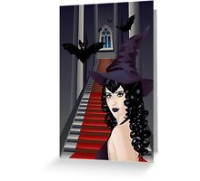 Gothic Stairs and Witch 2 Greeting Card