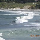 Surfer Relaxed in the Waves by Sandra Gray