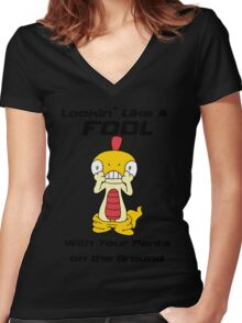 Pokemon- Scraggy- Pants on the Ground Women's Fitted V-Neck T-Shirt