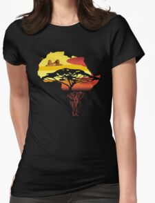 africa, elephant, lion Womens Fitted T-Shirt