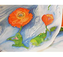 Floating poppies with frogs on a new Journey Photographic Print