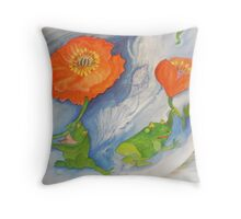 Floating poppies with frogs on a new Journey Throw Pillow