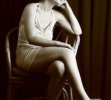 Nicky portraying Betty being pensive - Sepia by Glynn Jackson