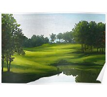Green park by lake Poster