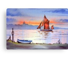 Thames Barge At Maldon Essex England Canvas Print
