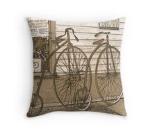 High-Wheel Bicycles Throw Pillow