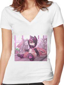 NeKo-RU Women's Fitted V-Neck T-Shirt