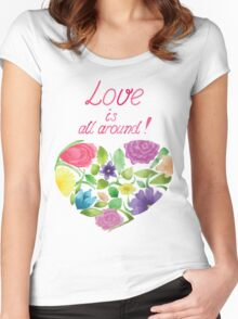 Love is all around Women's Fitted Scoop T-Shirt