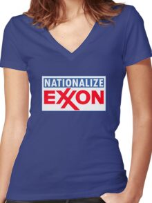 NATIONALIZE EXXON Women's Fitted V-Neck T-Shirt
