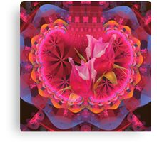 Romantic fantasy pattern with pink Rose buds Canvas Print
