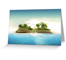 Storybook Landscape Ocean Scene Greeting Card