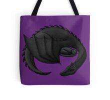 Black Dragon Curled Around Sleeping Cat Tote Bag