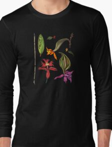 Orchids and Ink on Black Long Sleeve T-Shirt
