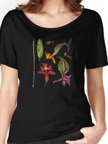 Orchids and Ink on Black Women's Relaxed Fit T-Shirt