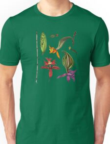Orchids and Ink on Black Unisex T-Shirt