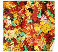 FLORAL FANTASY 3 Bold Abstract Flowers Acrylic Textural Painting Sunshine Yellow Rust Red Green Art Poster