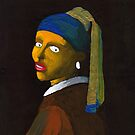 (Flipped) Girl With a Pearl Earring Reverse (after Vermeer & M Groening) by Donnahuntriss