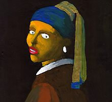 (Flipped) Girl With a Pearl Earring Reverse (after Vermeer & M Groening) by Donna Huntriss
