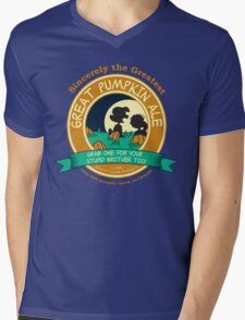 Great Pumpkin Ale Linus and Lucy Mens V-Neck T-Shirt
