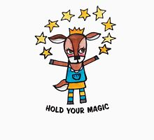 Hold Your Magic: Cute Deer Drawing Watercolor Illustration Womens Fitted T-Shirt