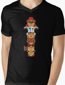 Street Fighter 2 Totem Mens V-Neck T-Shirt