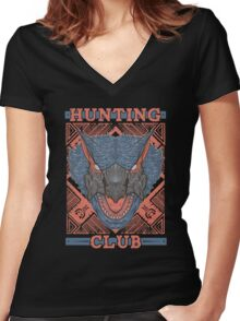 Hunting Club: Nargacuga Women's Fitted V-Neck T-Shirt