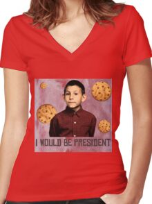 DEWEY PRESIDENT MALCOLM IN THE MIDDLE Women's Fitted V-Neck T-Shirt