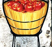 Basket of apples, back-Wrought iron chair painted in acrylic by Francesca Romana Brogani